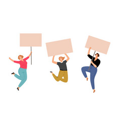 female protest girls with posters vector image