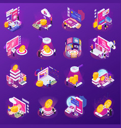 financial technology glow isometric icons vector image