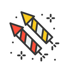 Firecracker icon filled outline style editable vector
