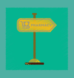 Flat shading style icon pharmacy sign vector