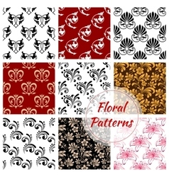 Floral seamless pattern with flower and leaf vector image vector image