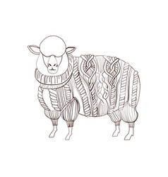fluffy sheep in knitted sweater hand drawn vector image