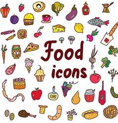 Food icons set - hand drawn design vector image
