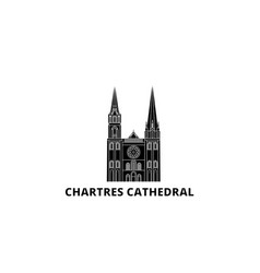 France chartres cathedral landmark flat travel vector