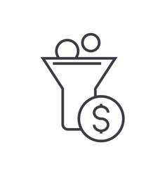 funnel profit marketing conversion line vector image