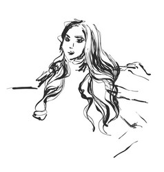 Girl with stylish hair sketch hairdresser or vector