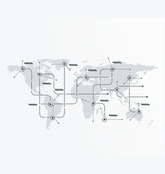 Global network concept world map with lines vector