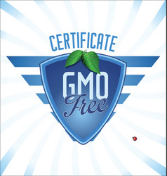 gmo free blue certificate badge vector image