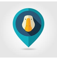 Goose flat pin map icon Animal head vector image