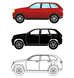 group of different kind terrain vehicles red vector image