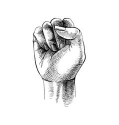 Hand drawn raised fist vector