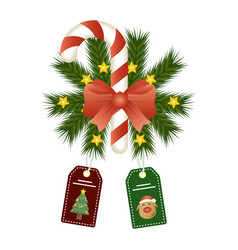 Happy merry christmas sweet cane and bow vector