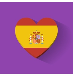 Heart-shaped icon with flag of Spain vector image
