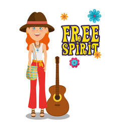 Hippie woman with a guitar cartoon vector