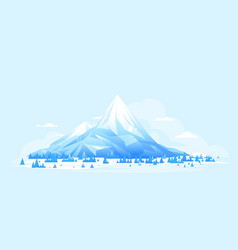 ice mountains with spruce forest geometric design vector image