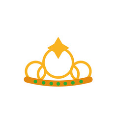 Isolated queen green and gold crown design vector