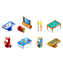Isometric recreation entertainment room set vector