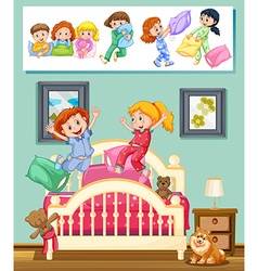 Kids at slumber party in bedroom vector