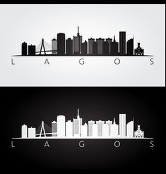 lagos skyline and landmarks silhouette vector image
