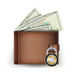 leather wallet locked with combination vector image