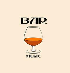logo a music bar or a glass cognac vector image
