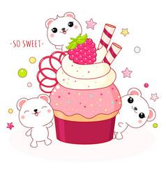 Lovely polar bears with raspberry cake vector
