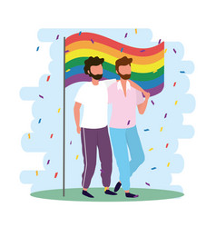 men couple together with rainbow flag vector image