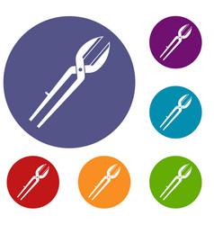 Metal scissors icons set vector