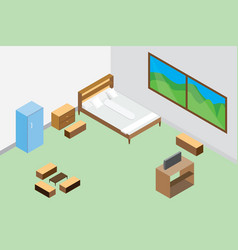 Modern bedroom interior and furniture wooden vector