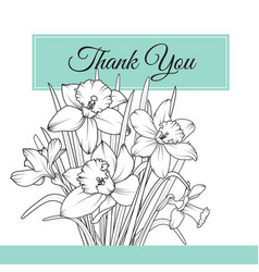 Narcissus daffodil flowers bouquet thank you card vector