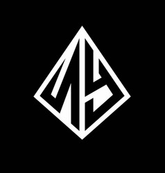 Ny logo letters monogram with prisma shape design vector