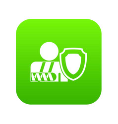 oken arm and safety shield icon digital green vector image