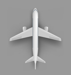 Passenger airplane top view template vector