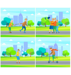 pensioner rolling with old wife senior male female vector image