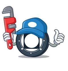Plumber byteball bytes coin mascot cartoon vector