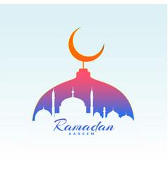Ramadan kareem design with mosque silhouette vector