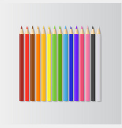 realistic detailed 3d colored pencils set vector image
