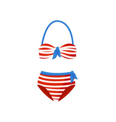 red and white striped swimsuit with blue bows two vector image
