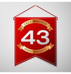 Red pennant with inscription Forty three Years vector