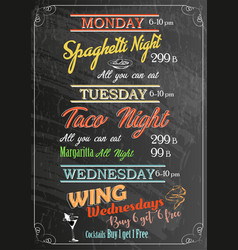 Restaurant food menu design with chalk board vector