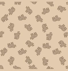 rhinoceros safari animal tangle pattern vector image
