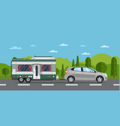 Road travel poster with hatchback car and trailer vector
