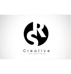 Rs letter logo design inside a black circle vector