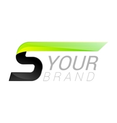 S letter black and green logo design Fast speed vector