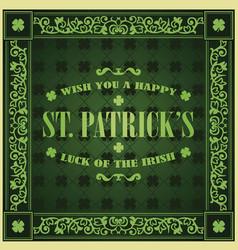 saint patricks day retro background vintage vector image