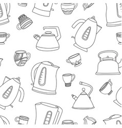 seamless pattern with cups of tea and vector image