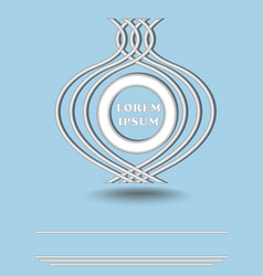 Silver metallic round logotype on light blue vector