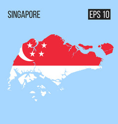Singapore map border with flag eps10 vector