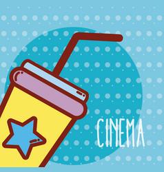 soda cup cinema cartoon vector image