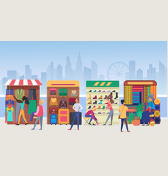 Street clothing market flat vector